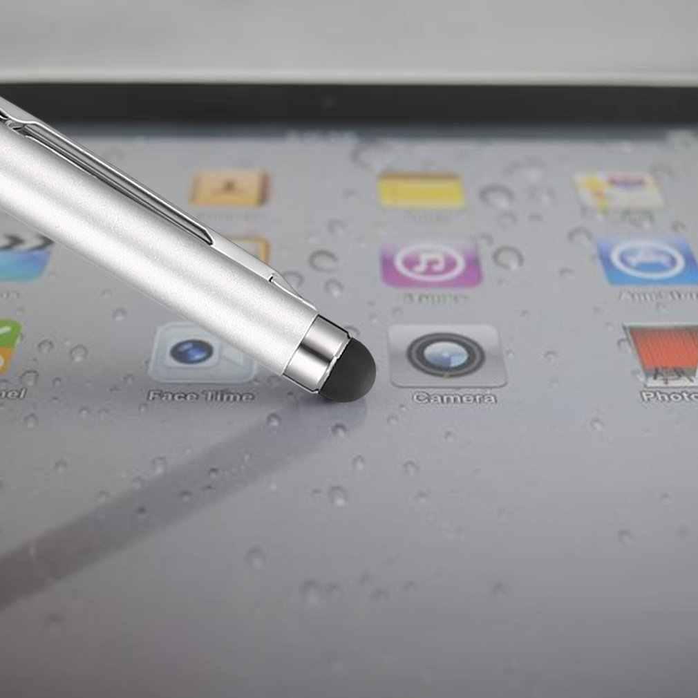 2 في 1 الفولاذ المقاوم للصدأ بالسعة الكريستال شاشة تعمل باللمس ستايلس و قلم بسن بلية ل هاتف الكمبيوتر اللوحي