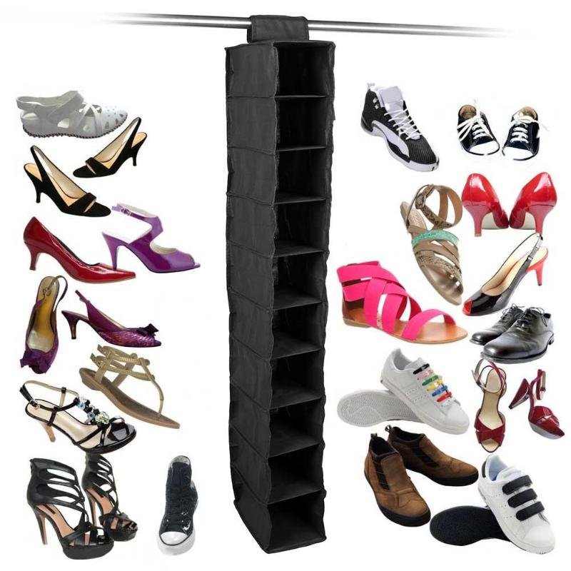 Hanging Wardrobe Organizer Storage Fabric Shelf Dust-Proof Shoe Clothes Hanging Storage Rack Shelf Home Hanging Pocket Drawer