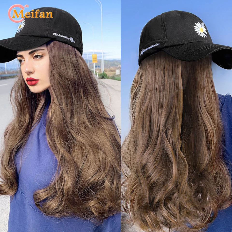 MEIFAN New Fashion Long Wavy Curly Hat Wig Black Brown With Wig And Embroidery Baseball Cap Natural Connection Synthetic Wig
