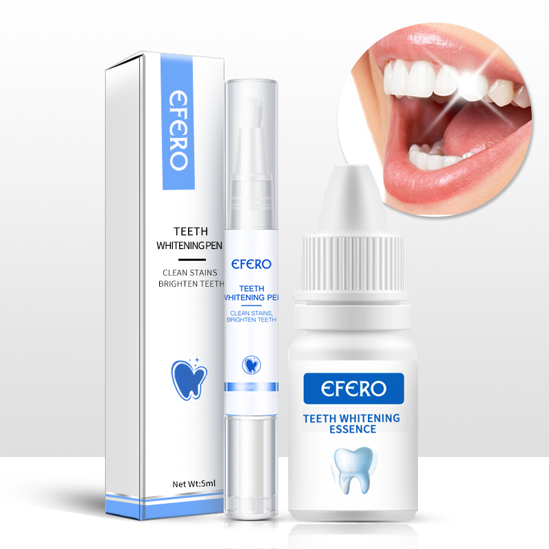Efero 1PC Tooth Cleaning Essence+1PC Bleaching Dental White Teeth Whitening Pen Oral Hygiene Remove Plaque Stains Teeth Cleaning