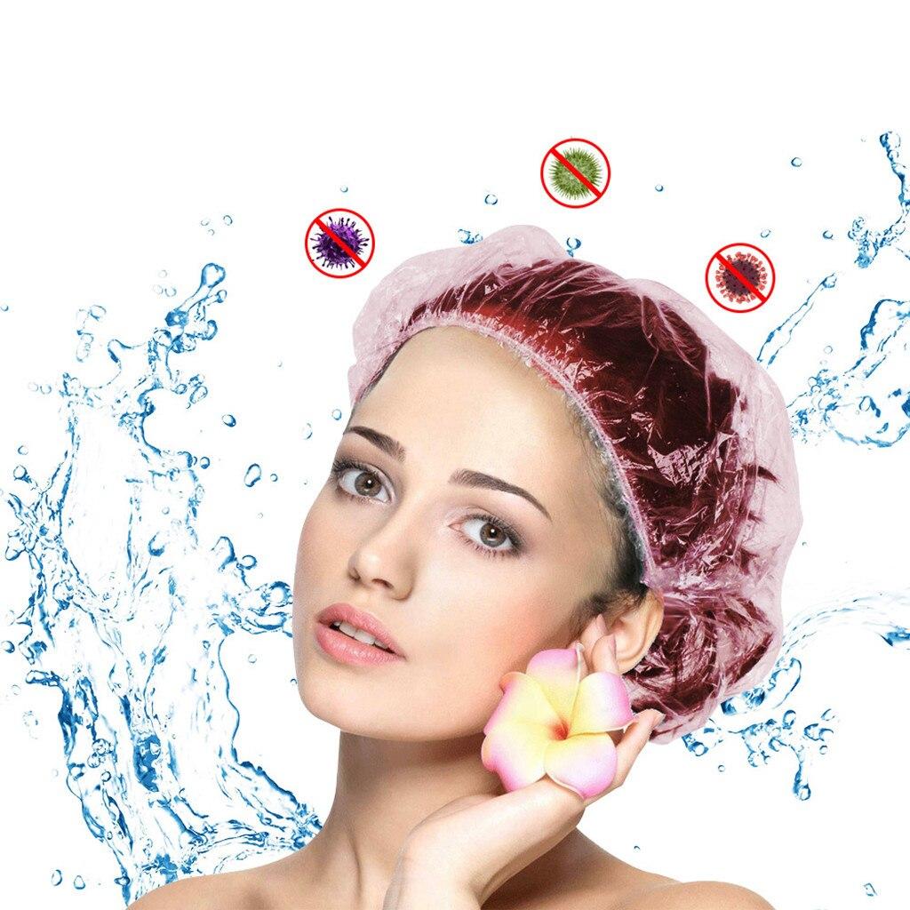Одноразовые шапочки для душа, 10 шт./лот, шапочки для купания, Одноразовые эластичные шапочки для душа для отеля, прозрачные волосы, водонепро...