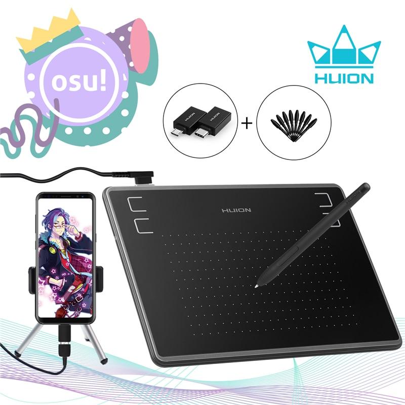 HUION H430P tabletas gráficas de dibujo Digital pluma firma tableta OSU juego tableta con batería-Stylus gratis pluma con regalo