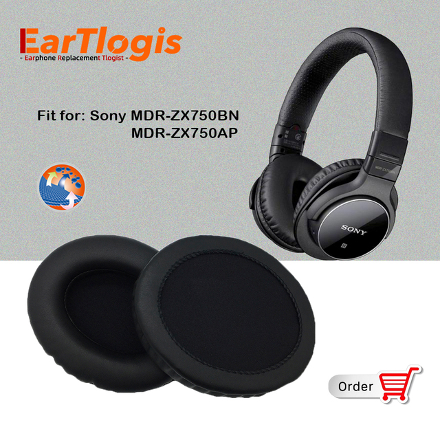 EarTlogis Replacement Ear Pads for Sony MDR ZX 750BN 750AP MDR ZX750BN MDR ZX750AP Headset Parts Earmuff Cover Cushion Cups