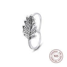 Fandola folha de carvalho duplo anel femme 925 prata esterlina claro cz anéis de casamento para a moda feminina jóias anillos mujer atacado