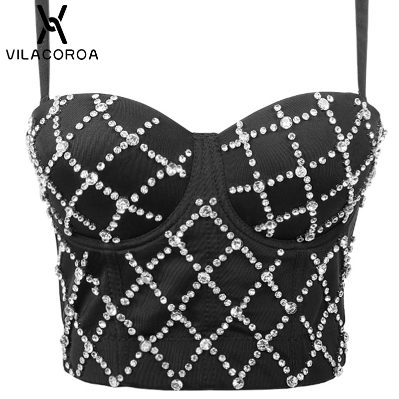 Sexy Tube Top Diamond Stitching Ladies Crop Top High Waist Bodycon Banquet Tank Top High Waist Backless Sling Female Top Vest
