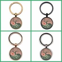 New Yin and Yang Tree of Life Round Glass Pendant Keychain Cute Gift Photo Dome Charm Bag Souvenir Key Ring  Coach Women Handbag