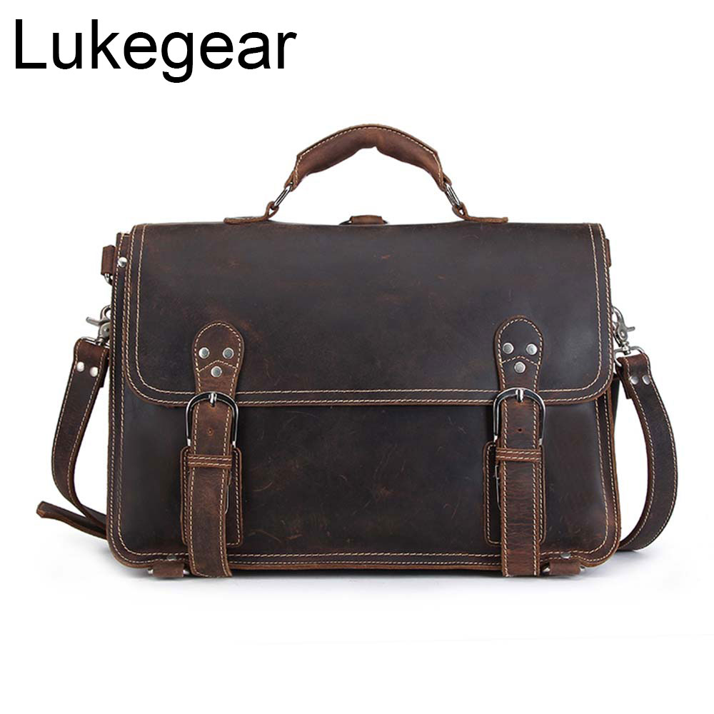 Lukegear Mens Laptop Messenger Bags Genuine Leather Handmade Briefcase Solid Cow Leather Bag