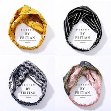 Romantic Bohemian Hairbands Plaid Headbands Headkerchief For Women Retro Cross Knot Turban Bandanas Hair Accessories Headwrap цена и фото