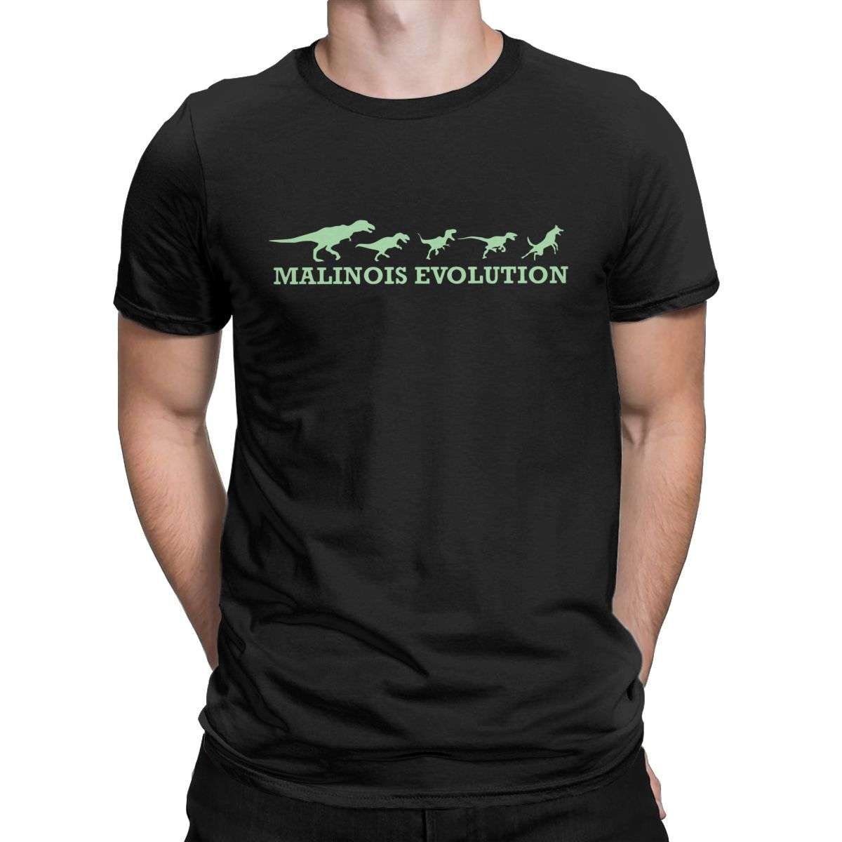 Erkek Kıyafeti'ten Tişörtler'de Malinois evrim T gömlek erkekler % 100% pamuk Vintage t shirt Crewneck belçika köpek Tee gömlek kısa kollu üstleri hediye fikri title=