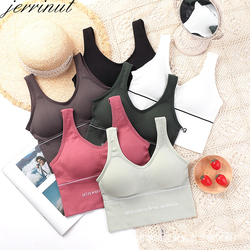 Jerrinut Bras For Women Sexy Seamless Backless Bralette U Type Active Padded Push Up Bra Women Top Wireless Long Tops Brassiere