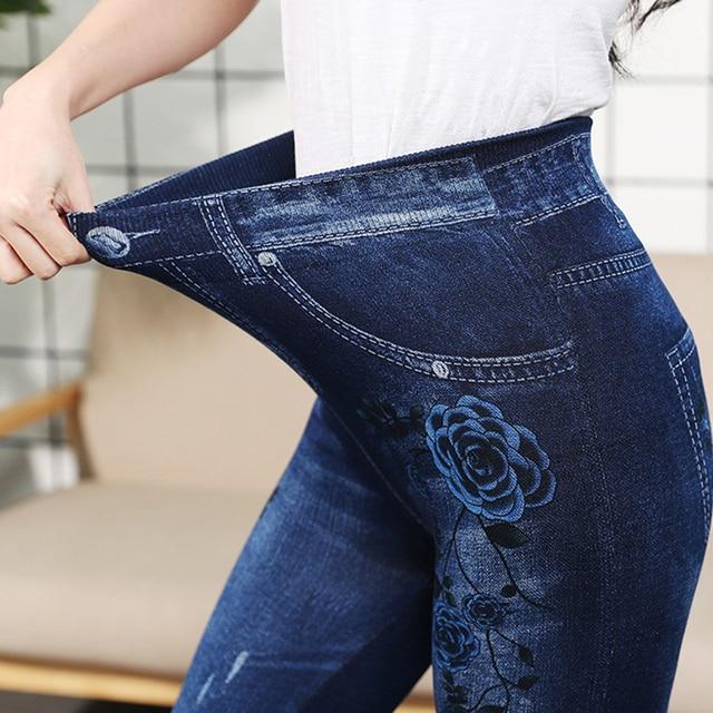 Autumn Women Thermal Leggings Ladies Fleece Faux Denim Seamless Leggings Pants Floral Print Sexy Full Plus Size Pants Streetwear 4