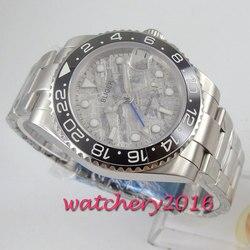 40mm BLIGER sterylne szary dial czarny ceramiczny bezel GMT data szkło szafirowe automatyczny męski zegarek
