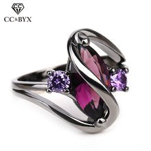 CC Rings For Women Vintage Jewelry Cubic Zirconia Horse Eyes Purple Black Gold Color