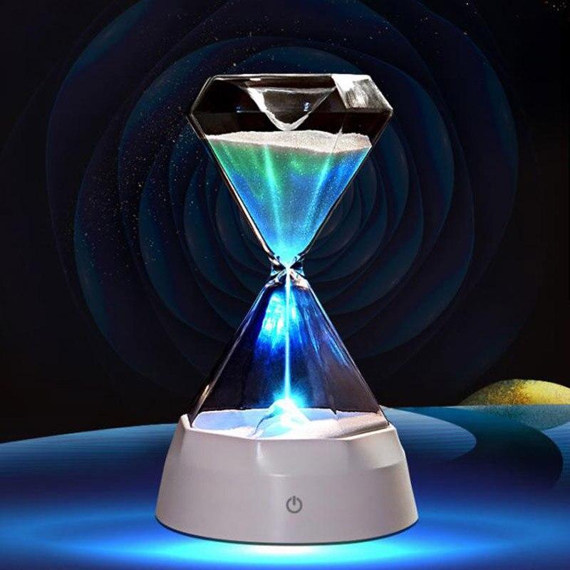Glass Hourglass Lights Timer LED Sand Glass USB Colorful Night Light Sleep Helper For Christmas Birthday Gifts Home Decor