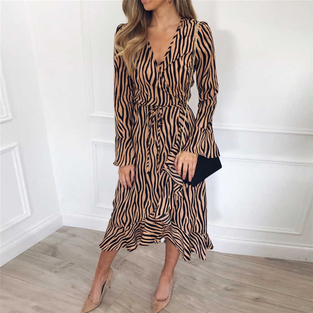 Sexy V-hals Zebraprint Strand Chiffon Maxi Jurk Vrouwen 2020 Zomer Toevallige Lange Mouwen Ruches Bandage Elegante Lange Party Dress