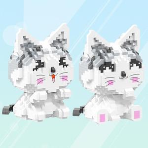 Милые японские Мультяшные фигурки, Строительные кирпичи, милый дом, микро Алмазный Блок для кошек, сборка нанокирпича, обучающая игрушка в п...