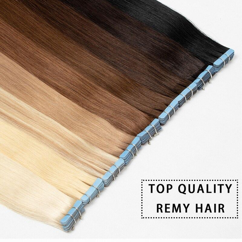 Накладные волосы Mrs Hair Remy, лента для наращивания, прямые человеческие волосы блонд, на клейкой основе, 14, 18, 22, 20 шт., бесшовные, черные