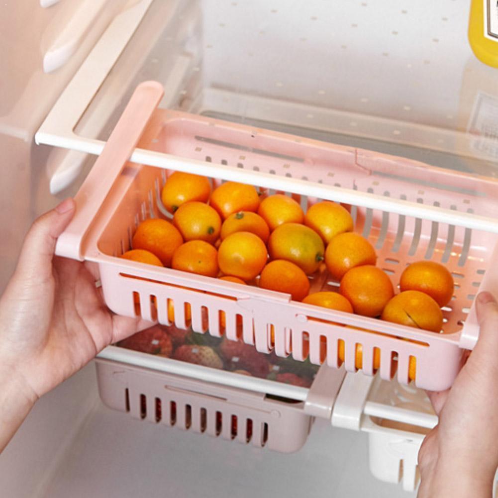 Household Kitchen Organizer Adjustable Kitchen Refrigerator Holder Shelf Freezer Space Fridge Drawer Rack Pull-out Saver St K3S5