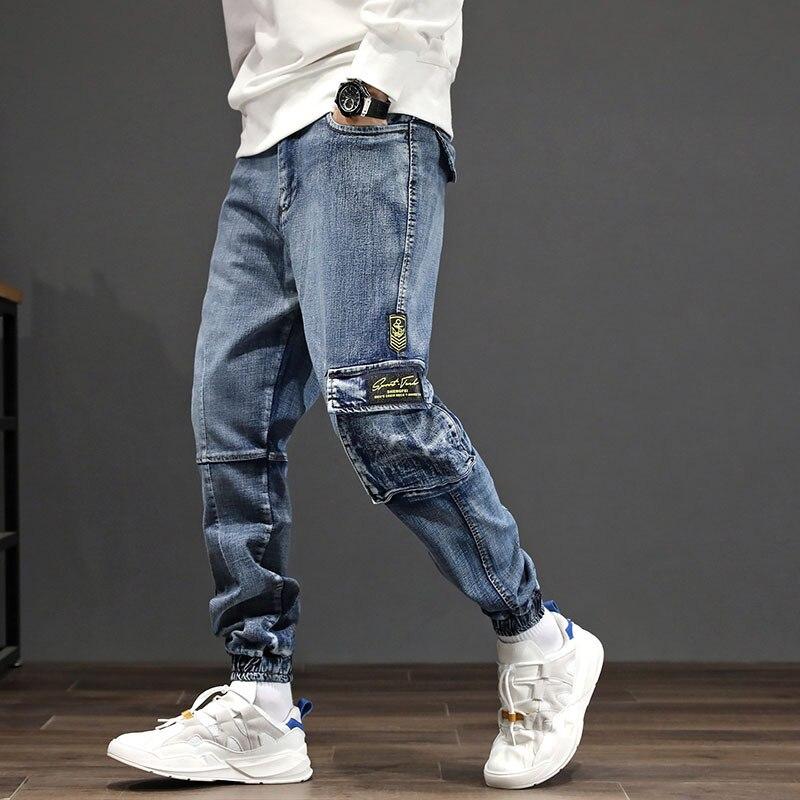 #2075 Mens Denim Cargo Jeans Japanese Streetwear Hip Hop Jeans For Men Side Pockets Loose Fashions Biker Jeans Mens Plus Size 42