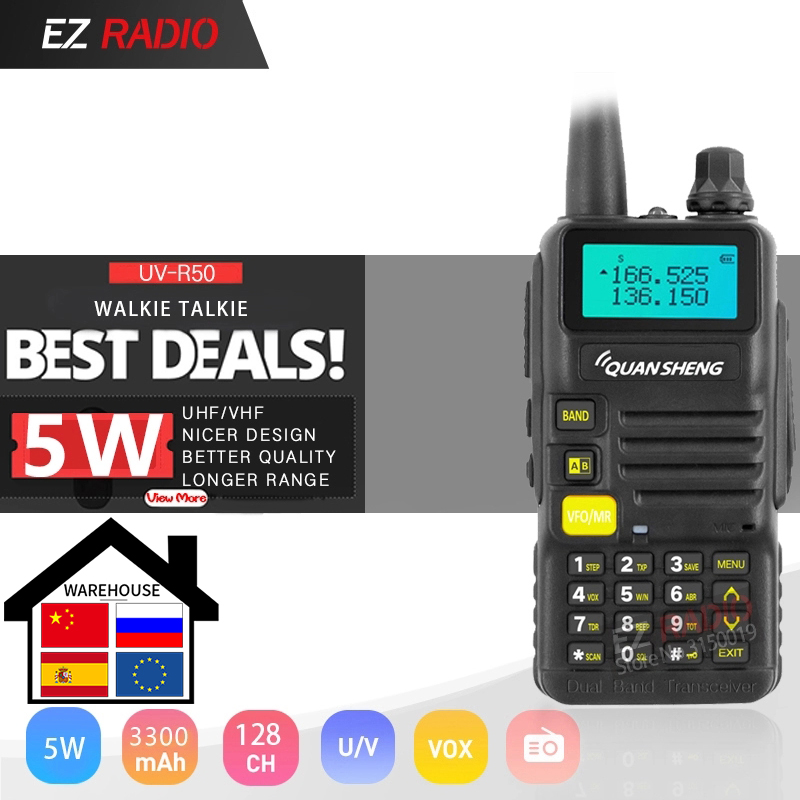 Hot QuanSheng UV-R50/UV-R50-1/UV-R50-2/TG-UV2 Walkie Talkie UHF VHF TG-UV2 Two-way Radio 3300mAh Quansheng 5W Ham Radio UV R50-2