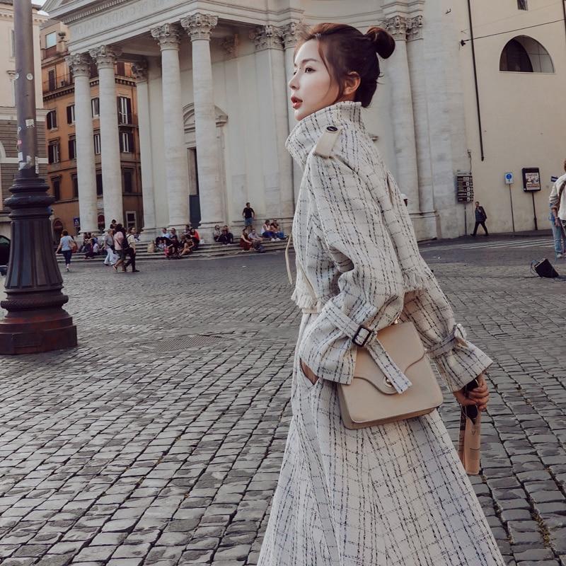 Casaco longo trench coat casacos feminino manteau femme moda feminina moda mujer mais tamanho do vintage elegante túnica roupas coreanas - 2