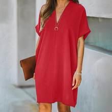 Vestido de escritório casual com decote em v manga curta cor sólida solto na altura do joelho vestido de escritório vestido de manga curta пdress dress dress dress 2021