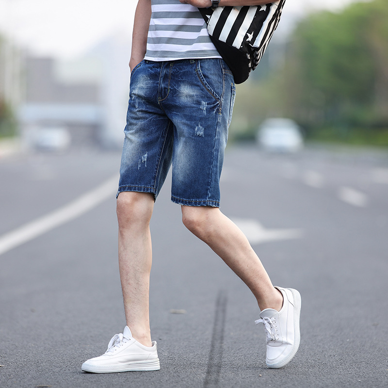 New Style Summer MEN'S Jeans Male Fifth Pants Sub-Youth Trend Of Fashion Elasticity Medium Waist Casual MEN'S Shorts
