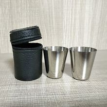 2Pcs 30ML Stainless Steel Camping Cup Mug Outdoor Hiking Folding Portable Tea Coffee Beer With Black Bag