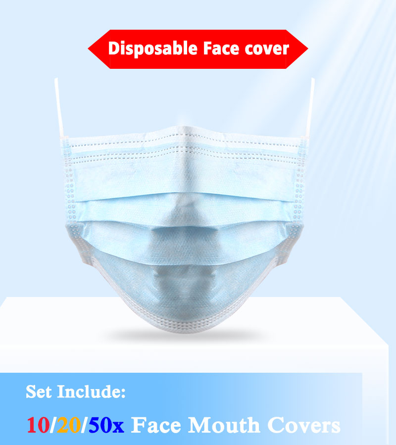 Fashion 10/20/50Pcs Disposable 3-Layer Anti Dust Breathable Comfortable Sanitary Protective Elastic Earloop Facial Mouth Cover
