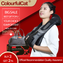 Shiatsu Neck and Back Massager with Heat Electric Deep Kneading Massage Pillow for Shoulder Leg Body Muscle Relief Home Office angelruila neck massager shoulder back leg body massage pillow electric shiatsu spa home car equipment with led light heating
