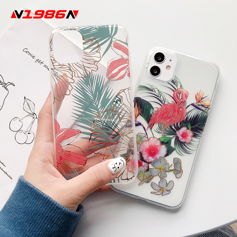N1986N Phone Case For iPhone 11 Pro X XR XS Max 7 8 Plus Art Plating Flowers Banana Leaf Floral Clear IMD For iPhone X SE Case