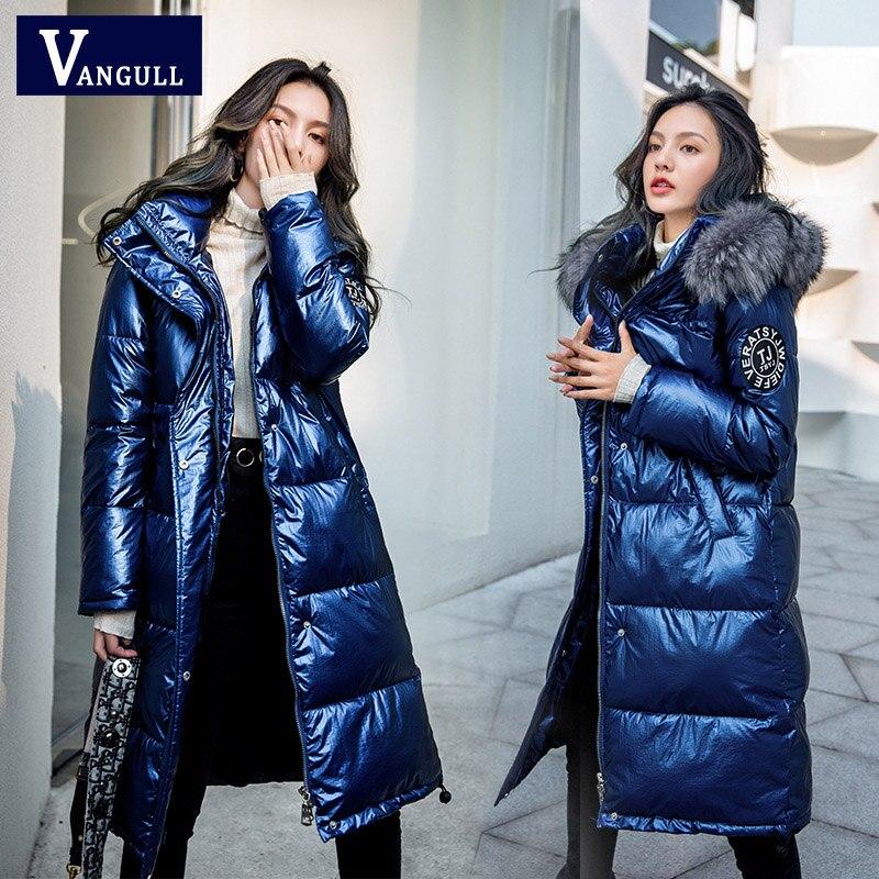 Vangull Зимняя парка, пальто, глянцевая куртка, женские пуховики, хлопковые куртки, длинные с капюшоном, утолщенные патч дизайн, модные свободные Chaqueta Mujer