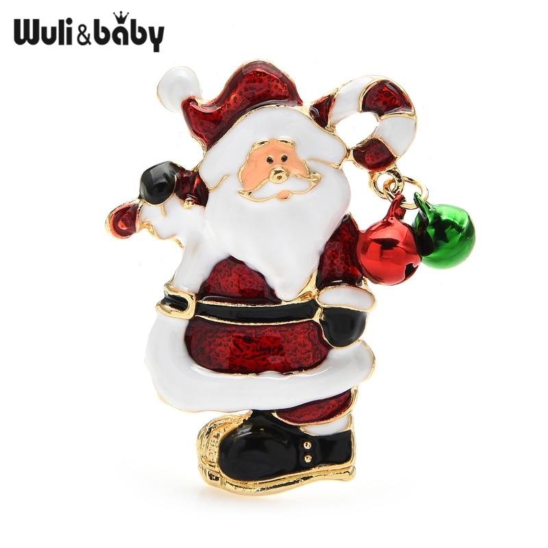 Wuli & baby, броши в виде Санта-Клауса Jinglebell, симпатичная эмалированная брошь для отца, Рождества, булавки для женщин, унисекс, новогодние ювелирн...