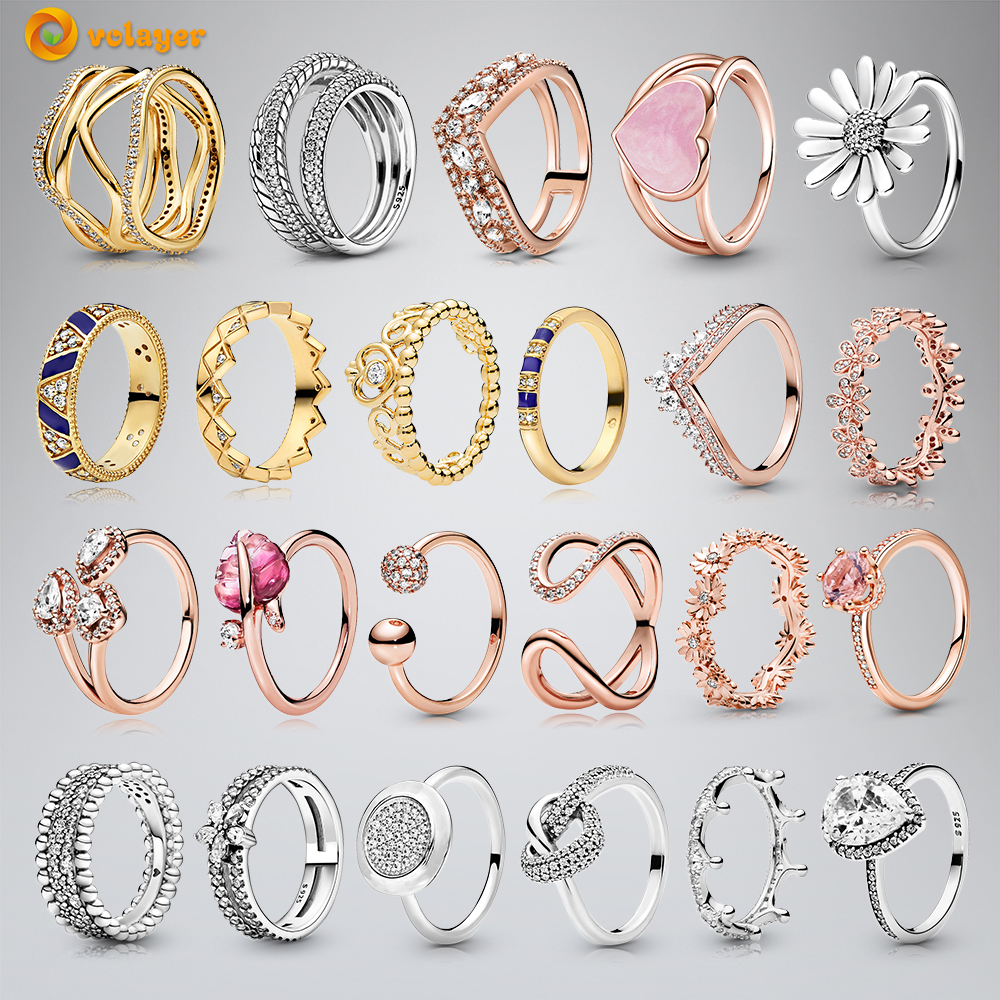 Volayer 925 Sterling Silver Rings Daisy Flower Snake Chain Pattern Crown Open Band of Hearts Rings Original 925 Women Rings Gift