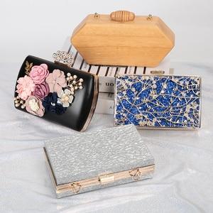 Image 1 - Lüks ay altın el çantası bayan el çantası düğün debriyaj kristal çanta lüks kadın çanta moda günlük cüzdan