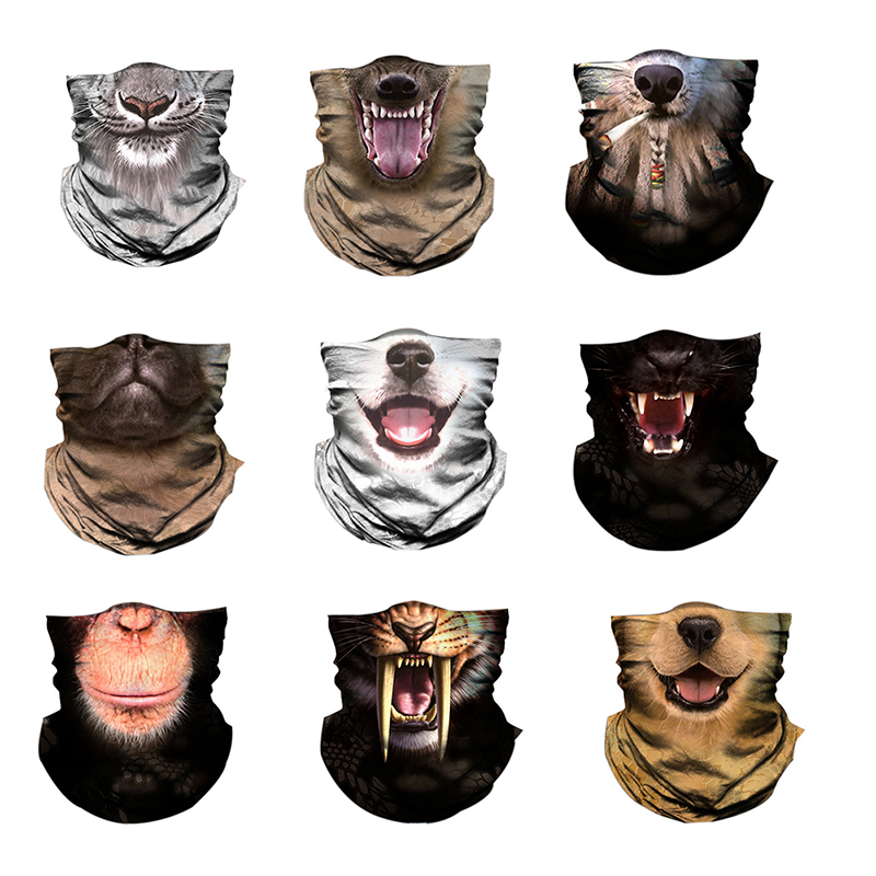 Face Mask Animal Printed Multi Functional Quick Dry Sunshade Sweatband Hairband Head Scarf Protective Cover Outdoor Sportswear