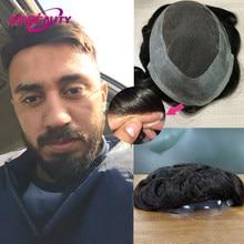 Laço do plutônio dos homens peruca de cabelo humano remy indiano sistema cabelo humano peruca de 30mm onda cor natural pré arrancado hairline 6 polegada 130%