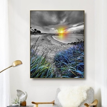 Canvas Art Painting Cloudy sky Sunset at the seaside Art Poster Wall Decor Colorful Modern Home Decoration For Living room Cafe
