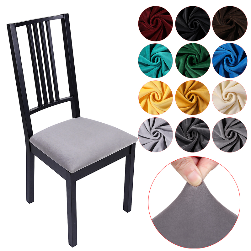 Stretch Velvet Kitchen Office Stretch Chair Cover Solid Seat Protector Elastic Seat Case Dining Computer Slipcover Living Room
