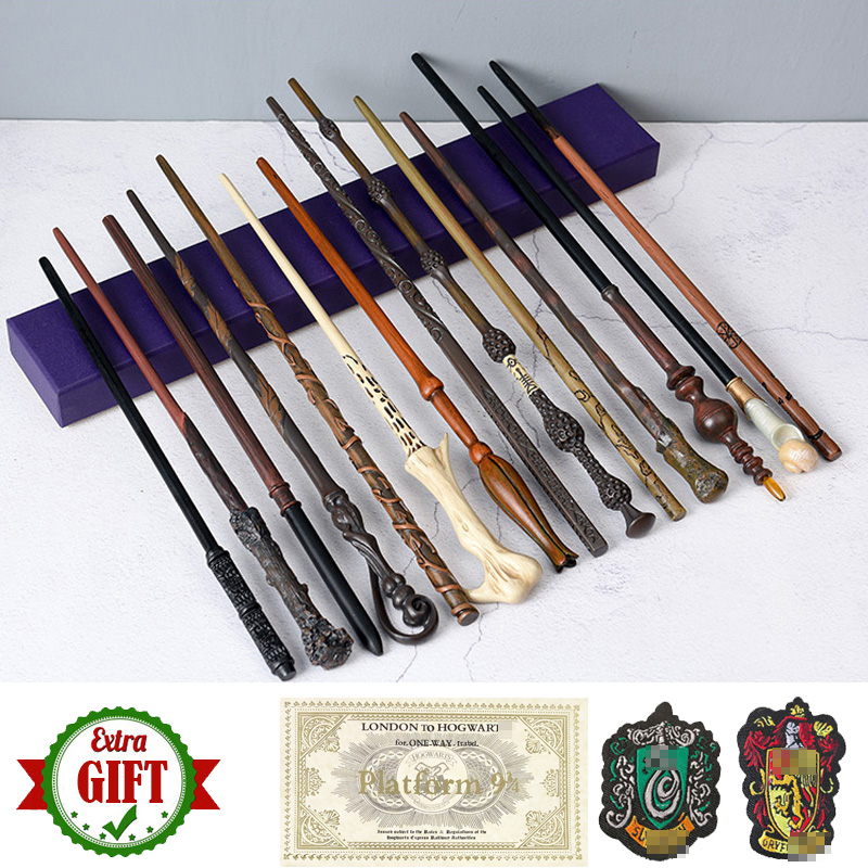 35 42cm Metal Core Potters Magic Wand Cosplay Dumbledore Voldemort Malfoy Snape Harried Wands Toys Ticket Badge As Free Gift|Magic Tricks|   - AliExpress
