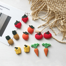 925 Silver Needle Korean Style Color Fruit Vegetable Earrings Cute Strawberry Pineapple Stud for Girls