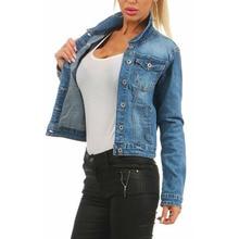 Chaquetas de mezclilla para mujer otoño Lady Cool Short Black Jeans chaquetas 2019 para mujer Delgado ajuste básico abrigo Vintage niñas prendas de vestir de invierno D25