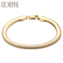 DOTEFFIL 925 Sterling Silver 18K Gold 6mm Snake Bone Chain Bracelet For Women Wedding Engagement Party Fashion Jewelry