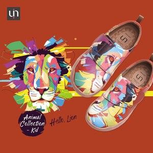 Image 2 - UIN Bunte Gemalt Lion Design Kinder Schuhe Mikrofaser Leder Mode Turnschuhe für Jungen/Mädchen Marke Schuhe Kinder Weiche Wohnungen