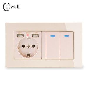 Image 3 - COSWALL Russia Spagna UE Standard di Presa A Muro 2 Porta USB di Ricarica + 2 Gang 1 Way On / Off Luce interruttore Indicatore LED del Pannello di Vetro