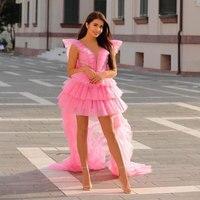 Elegant Pink Short Prom Dress Sweetheart Bubble Shoulder Evening Gowns 2019