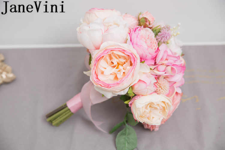 JaneVini 人工結婚式のブーケピンクの絹の花ロマンチックなブライダルブーケ花嫁の手のホルダーローズ牡丹 Accessori Damigella
