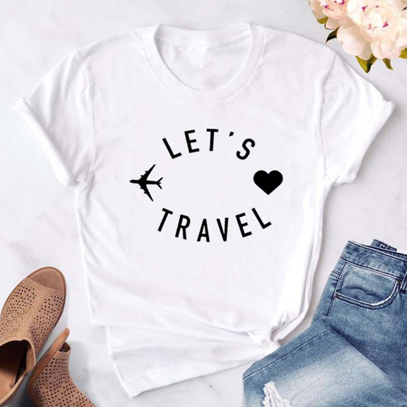 2019 Fashion Women T-shirt Summer Let's Travel Letters Printed Woman Tops Tees Black White Casual Short Sleeve Female Clothing