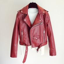 New Women Pu Leather Jacket Fashion Bright Color Black Motor Coats Short Faux Leather Biker Jackets Coat Female