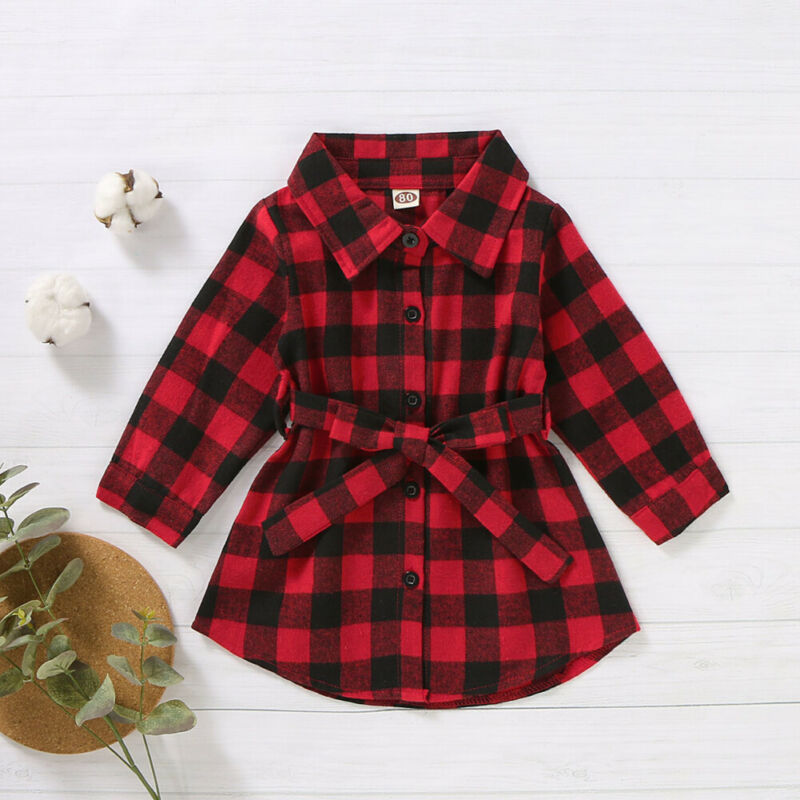 2019 New <font><b>Christmas</b></font> Toddler Baby <font><b>Girl</b></font> Plaids Shirt <font><b>Dress</b></font> <font><b>Long</b></font> <font><b>Sleeve</b></font> Outfit Party Waistband Mini Xmas <font><b>Dress</b></font> 1-5Y Clothes image